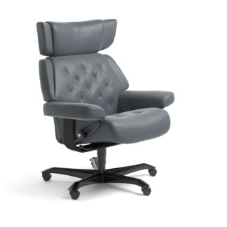 Sessel SKYLINE Home Office Leder Batick atlantic blue Gestell schwarz mit Rollen Stressless