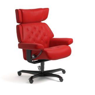 Sessel SKYLINE Home Office Leder Batick chilli red Gestell schwarz mit Rollen Stressless