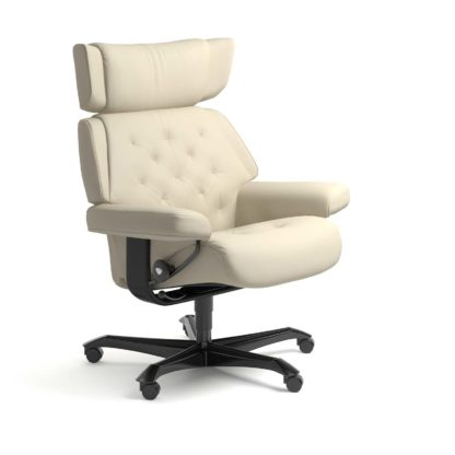 Sessel SKYLINE Home Office Leder Batick cream Gestell schwarz mit Rollen Stressless