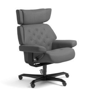 Sessel SKYLINE Home Office Leder Batick grau Gestell schwarz mit Rollen Stressless