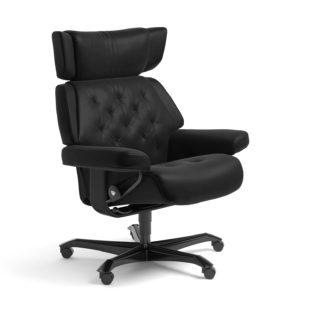 Sessel SKYLINE Home Office Leder Batick schwarz Gestell schwarz mit Rollen Stressless
