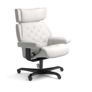 Sessel SKYLINE Home Office Leder Batick snow Gestell schwarz mit Rollen Stressless