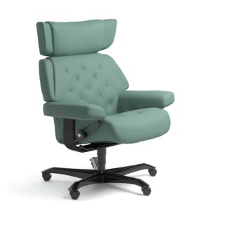 Sessel SKYLINE Home Office Leder Paloma aqua green Gestell schwarz mit Rollen Stressless