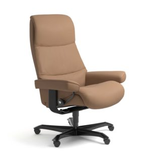 Sessel VIEW Home Office Leder Batick latte Gestell schwarz mit Rollen Stressless