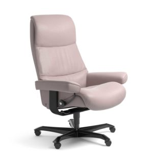 Sessel VIEW Home Office Leder Batick smoke rose Gestell schwarz mit Rollen Stressless