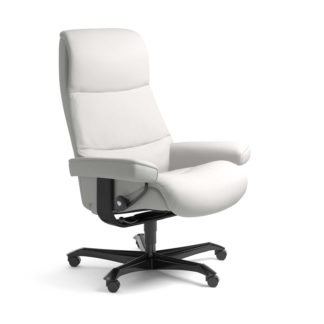 Sessel VIEW Home Office Leder Batick snow Gestell schwarz mit Rollen Stressless