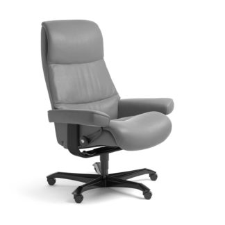 Sessel VIEW Home Office Leder Batick wild dove Gestell schwarz mit Rollen Stressless