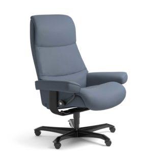 Sessel VIEW Home Office Leder Paloma sparrow blue Gestell schwarz mit Rollen Stressless