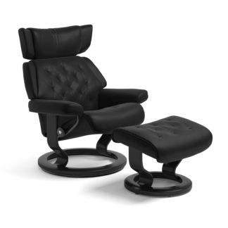 Sessel SKYLINE Classic mit Hocker Leder Batick schwarz Gestell schwarz Stressless