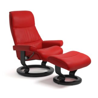 Sessel VIEW Classic mit Hocker Leder Batick chilli red Gestell schwarz Stressless
