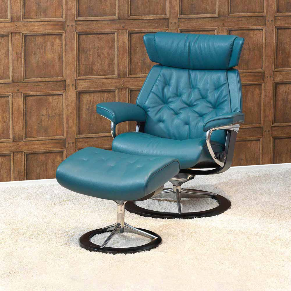 Stressless Relaxsessel Skyline Signature mit Hocker in Leder petrol