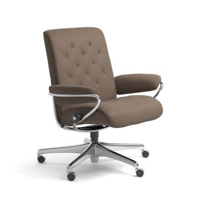 Sessel METRO Low Back Home Office Leder Batick mole Starbase Stahlgestell mit Rollen Stressless
