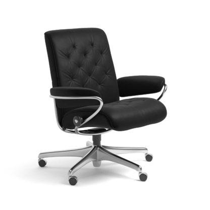 Sessel METRO Low Back Home Office Leder Batick schwarz Starbase Stahlgestell mit Rollen Stressless