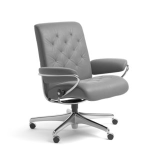 Sessel METRO Low Back Home Office Leder Batick wild dove Starbase Stahlgestell mit Rollen Stressless