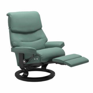 Sessel CAPRI Classic Legcomfort Leder Paloma aqua green Gestell schwarz Stressless