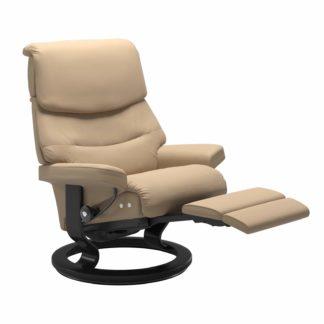 Sessel CAPRI Classic Legcomfort Leder Paloma beige Gestell schwarz Stressless