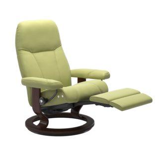 Sessel CONSUL Classic Legcomfort Leder Paloma amber green Gestell braun Stressless