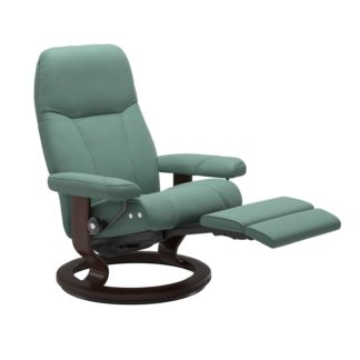 Sessel CONSUL Classic Legcomfort Leder Paloma aqua green Gestell braun Stressless
