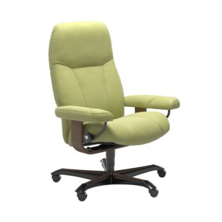 Sessel CONSUL Home Office Leder Paloma amber green Gestell walnuss mit Rollen Stressless