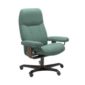 Sessel CONSUL Home Office Leder Paloma aqua green Gestell walnuss mit Rollen Stressless