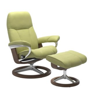 Sessel CONSUL Signature mit Hocker Leder Paloma amber green Gestell walnuss Stressless