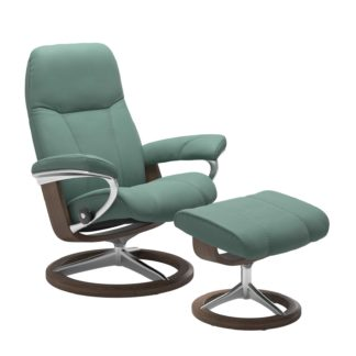 Sessel CONSUL Signature mit Hocker Leder Paloma aqua green Gestell walnuss Stressless