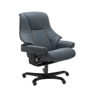Sessel LIVE Home Office Leder Batick atlantic blue Gestell schwarz mit Rollen Stressless