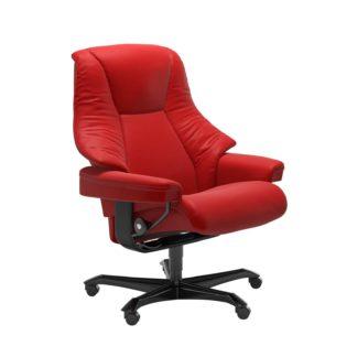 Sessel LIVE Home Office Leder Batick chilli red Gestell schwarz mit Rollen Stressless