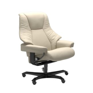 Sessel LIVE Home Office Leder Batick cream Gestell schwarz mit Rollen Stressless