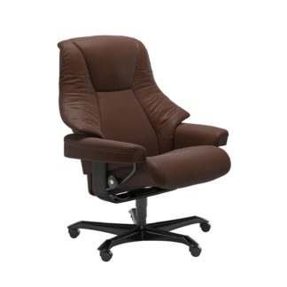 Sessel LIVE Home Office Leder Batick malt brown Gestell schwarz mit Rollen Stressless