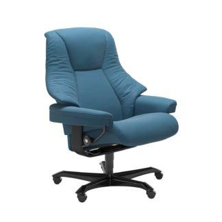 Sessel LIVE Home Office Leder Paloma crystal blue Gestell schwarz mit Rollen Stressless
