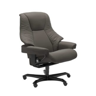 Sessel LIVE Home Office Leder Paloma metal grey Gestell schwarz mit Rollen Stressless