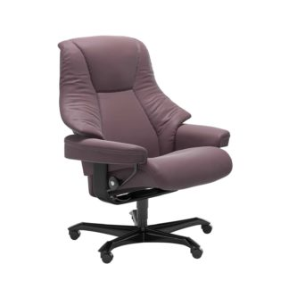 Sessel LIVE Home Office Leder Paloma purple plum Gestell schwarz mit Rollen Stressless
