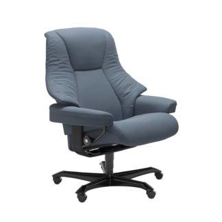 Sessel LIVE Home Office Leder Paloma sparrow blue Gestell schwarz mit Rollen Stressless