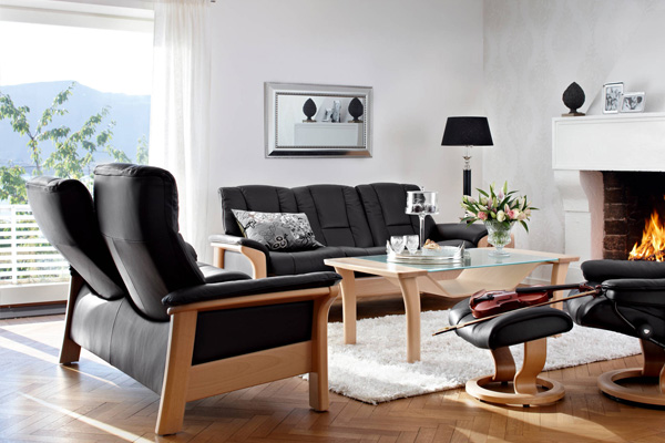 Stressless Sofa Kombination Modell Buckingham in schwarzem Leder