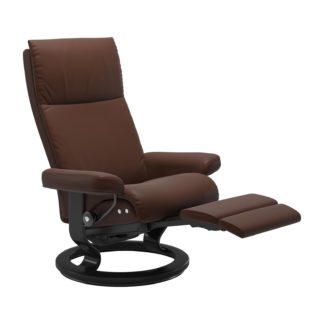 Sessel AURA Classic Legcomfort Leder Batick malt brown Gestell schwarz Stressless