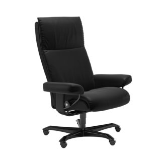 Sessel AURA Home Office Leder Batick schwarz Gestell schwarz mit Rollen Stressless
