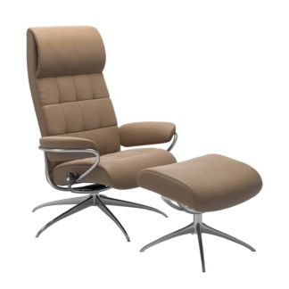 Sessel LONDON High Back mit Hocker Leder Paloma almond Gestell chrom Stressless