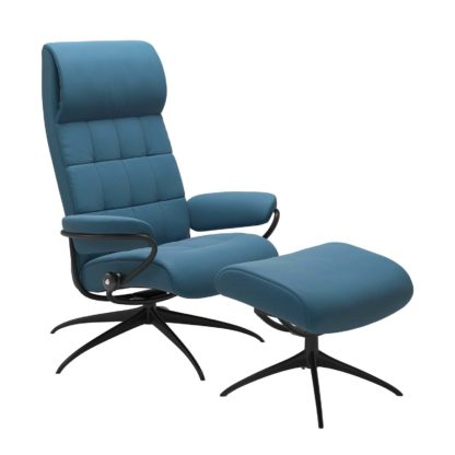 Sessel LONDON High Back mit Hocker Leder Paloma crystal blue Gestell matt schwarz Stressless