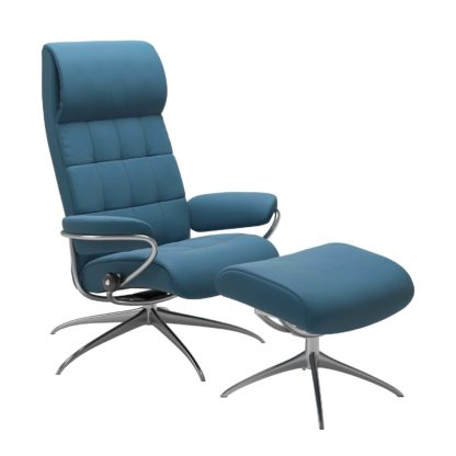 Sessel LONDON High Back mit Hocker Leder Paloma crystal blue Gestell chrom Stressless