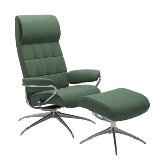 Sessel LONDON High Back mit Hocker Leder Paloma dark green Gestell chrom Stressless