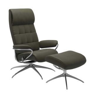 Sessel LONDON High Back mit Hocker Leder Paloma dark olive Gestell chrom Stressless