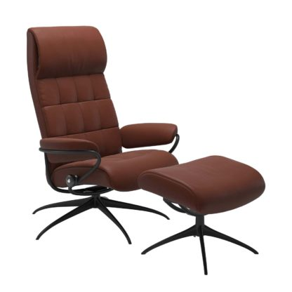 Sessel LONDON High Back mit Hocker Leder Paloma bordeaux Gestell matt schwarz Stressless