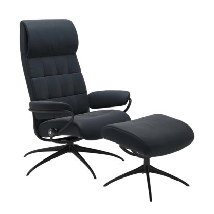 Sessel LONDON High Back mit Hocker Leder Paloma shadow blue Gestell matt schwarz Stressless
