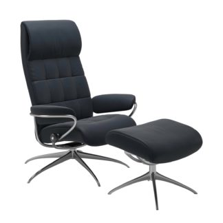 Sessel LONDON High Back mit Hocker Leder Paloma shadow blue Gestell chrom Stressless