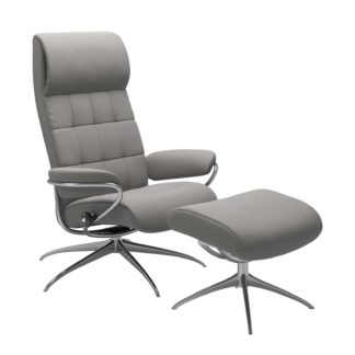 Sessel LONDON High Back mit Hocker Leder Paloma silver grey Gestell chrom Stressless