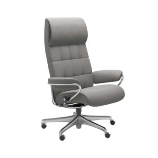 Sessel LONDON High Back Home Office Leder Paloma silver grey Stahlgestell mit Rollen Stressless